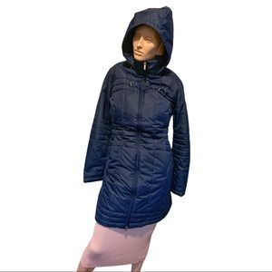 Lands End Long puff coat with attachable hood